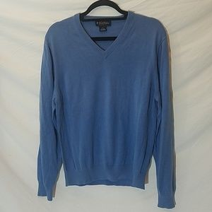 Brooks Brothers Blue Silk/Cotton V-Neck Sweater, M